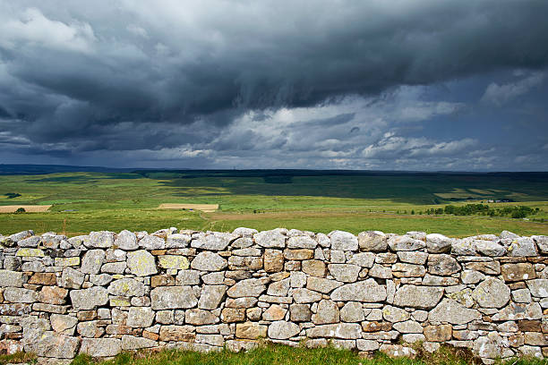 Storm Clouds Over Northumberland And Hadrian's Wall stock photo