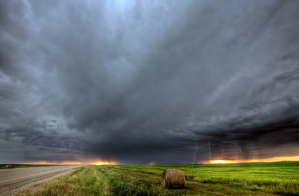 Storm clouds over Saskatchewan stock photo