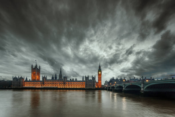 Storm clouds over the Big Ben in London, UK stock photo