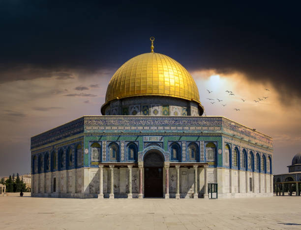 Storm Clouds over the Dome of the Rock in Jerusalem Some dark Storm Clouds over the Dome of the Rock in Jerusalem on the temple mount. dome of the rock stock pictures, royalty-free photos & images