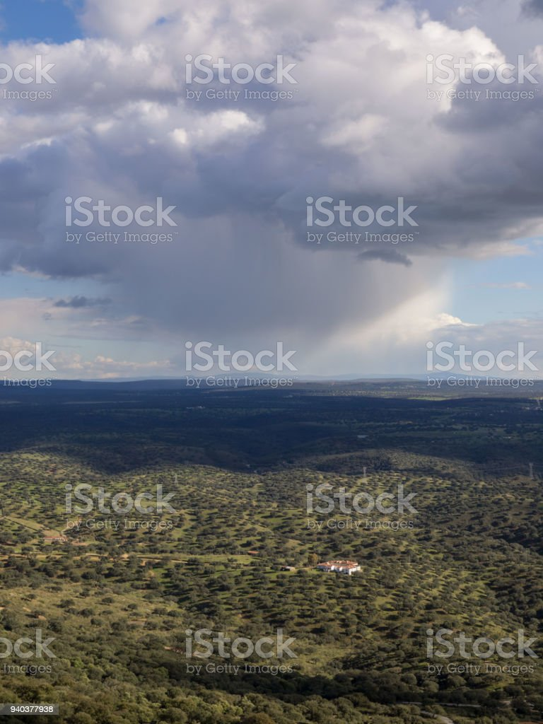 Storm clouds over the field, raining in Cáceres province, Extremadura, Spain stock photo