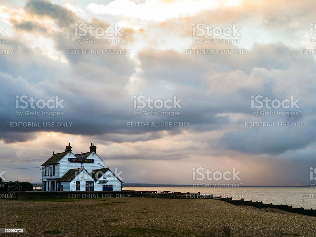 Storm Clouds over the Old Neptune, Whitstable stock photo