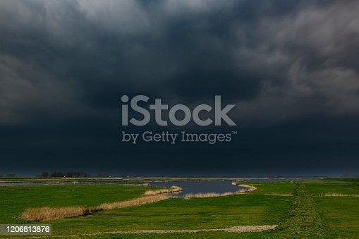1089986346 istock photo Storm clouds over the Reevediep waterway near Kampen in the IJsseldelta 1206813876