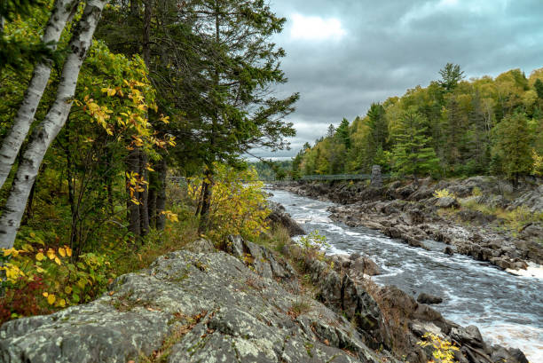 Storm Clouds over the St. Louis River at Jay Cooke State Park stock photo