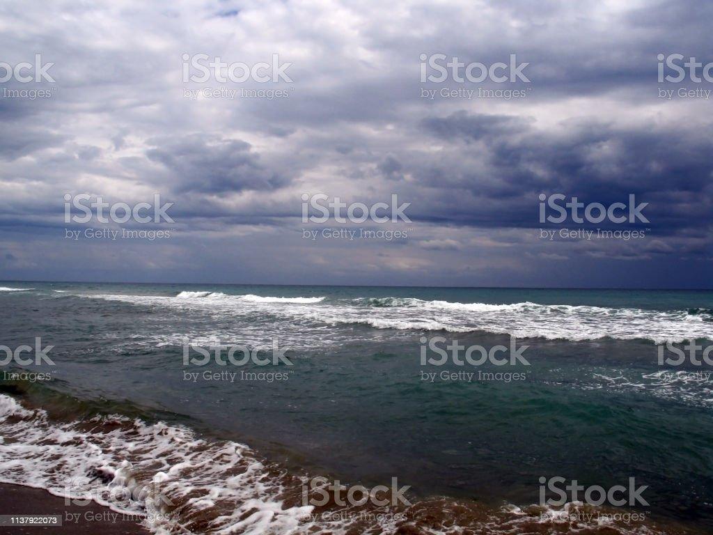 Storm clouds over the Tyrrhenian sea in Southern Italy - Стоковые фото Tyrrhenian Sea роялти-фри