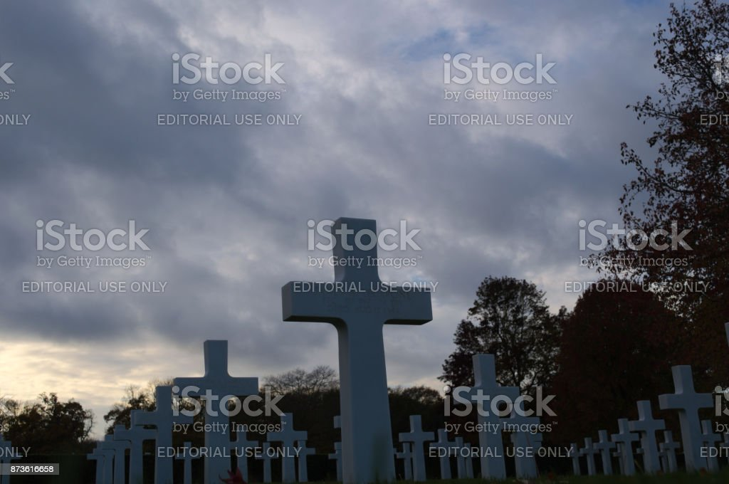 Storm Clouds with Headstone in foreground stock photo