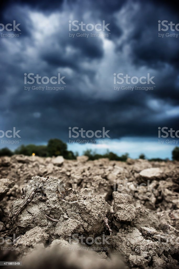 Storm Coming Out on a Dry Ground royalty-free stock photo
