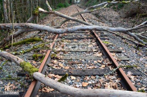 istock Storm Damage on Train Tracks 139468983