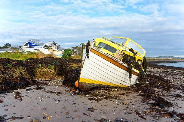 Storm Damaged Boat stock photo