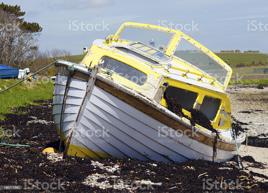 Storm Damaged Boat royalty-free stock photo
