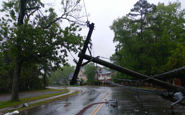 Storm damaged electric transformer on a pole and a tree Storm damaged electric transformer on a pole and a tree damaged electricity transformer stock pictures, royalty-free photos & images