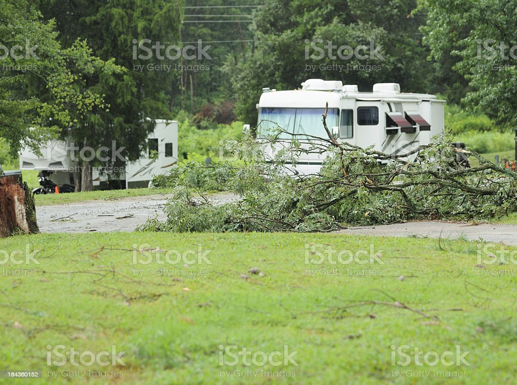 Storm debris in campground royalty-free stock photo