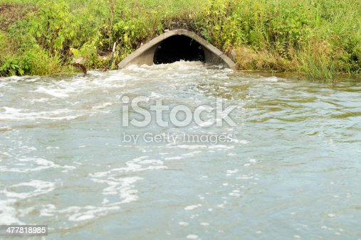 A storm drain culvert, below a road, with raging water flowing through after a substantial rainstorm.