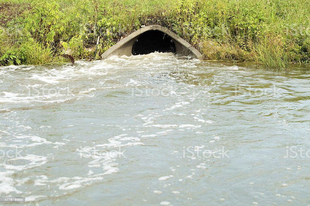 Storm Drain Culvert with Raging Water stock photo