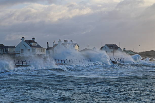 Storm Eleanor, Trearddur Bay, Anglesey, Wales, January 2018 stock photo