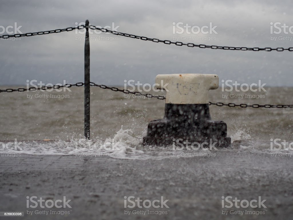 Storm Flood at nort sea stock photo