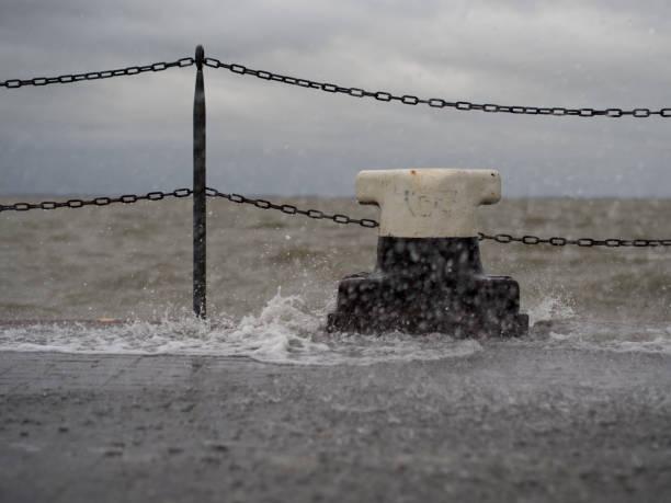 Storm Flood at nort sea stock photo