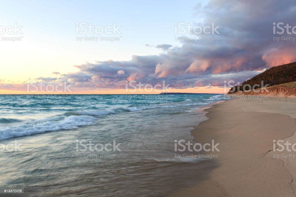 Storm Front over Lake Michigan and Sleeping Bear Dunes stock photo