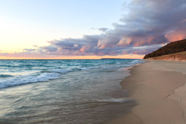 storm front over lake michigan and sleeping bear dunes - lake michigan stock pictures, royalty-free photos & images