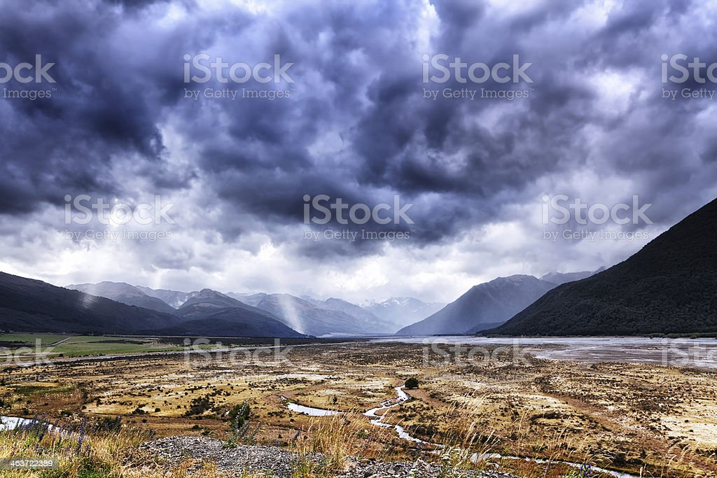 Storm in Arthurs Pass National Park, New Zealand royalty-free stock photo