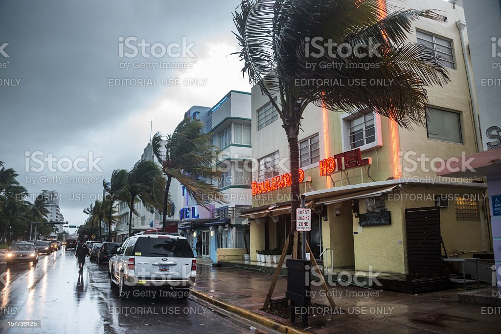 Storm in South Beach  Art Deco Stock Photo