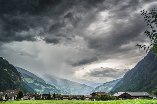 Storm in the Alps, Austria stock photo