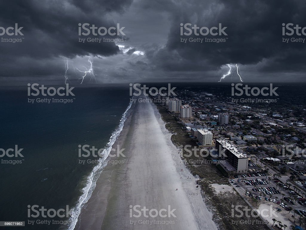 Storm in the coast of Florida stock photo