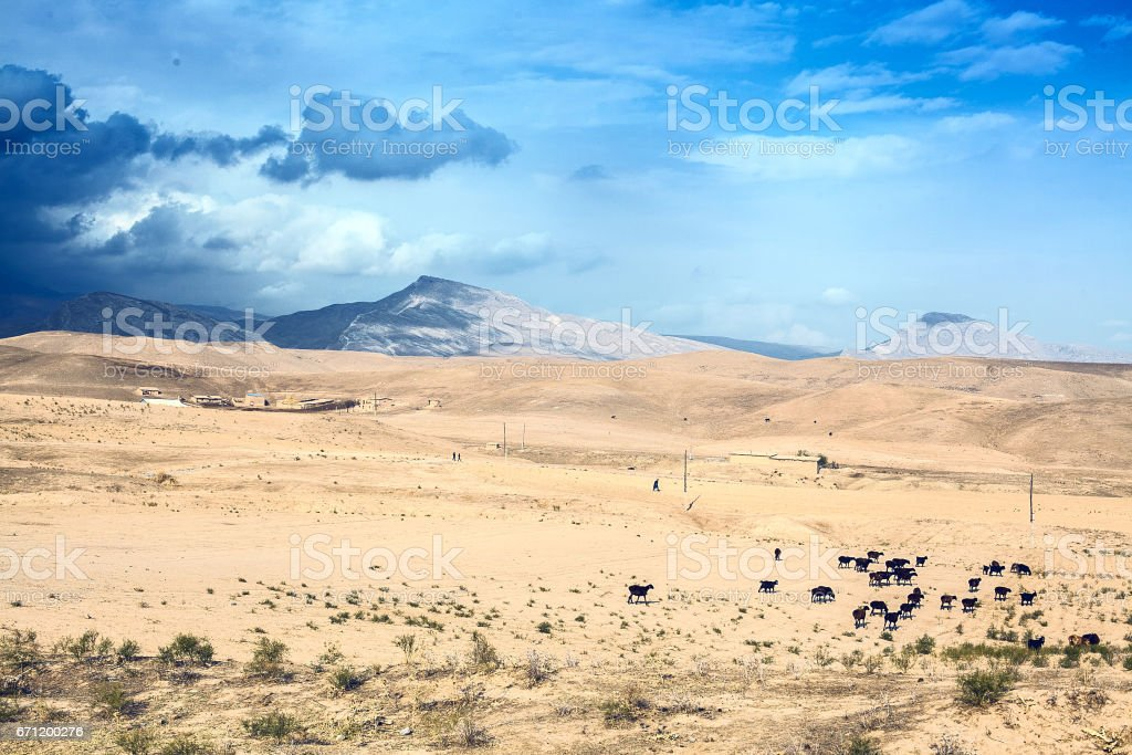 A storm in the desert stock photo