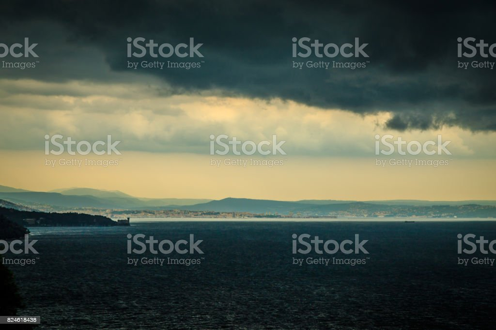 Storm is coming in the gulf of Trieste stock photo