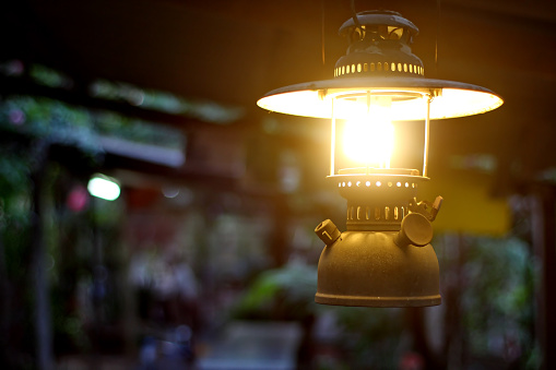 Storm lantern lighting.
