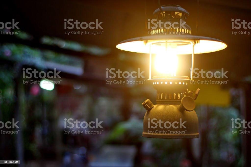 Storm lantern lighting. stock photo