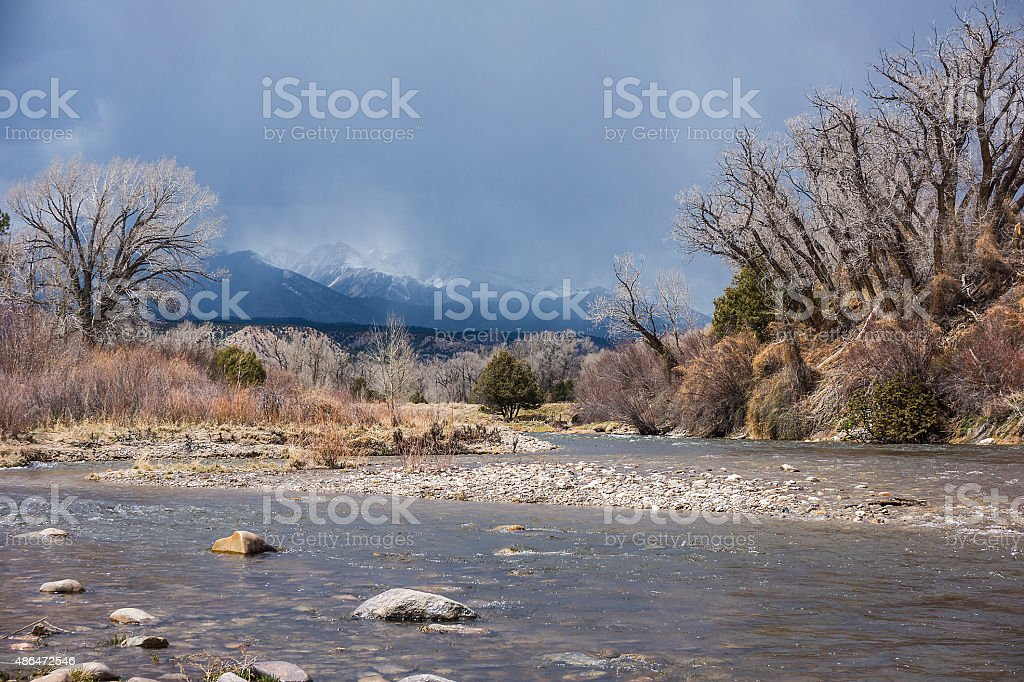 Storm on the Arkansas River stock photo