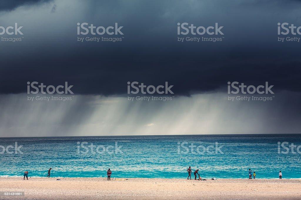 Storm On The Beach stock photo