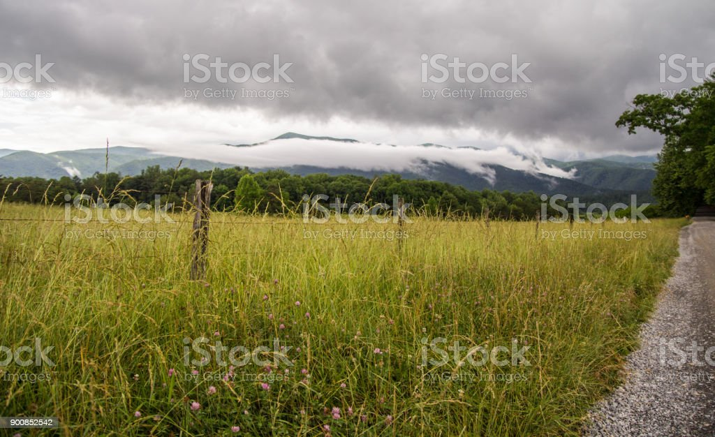 Storm On The Horizon Of The Great Smoky Mountains As Seen From The Valley Of Cades Cove stock photo