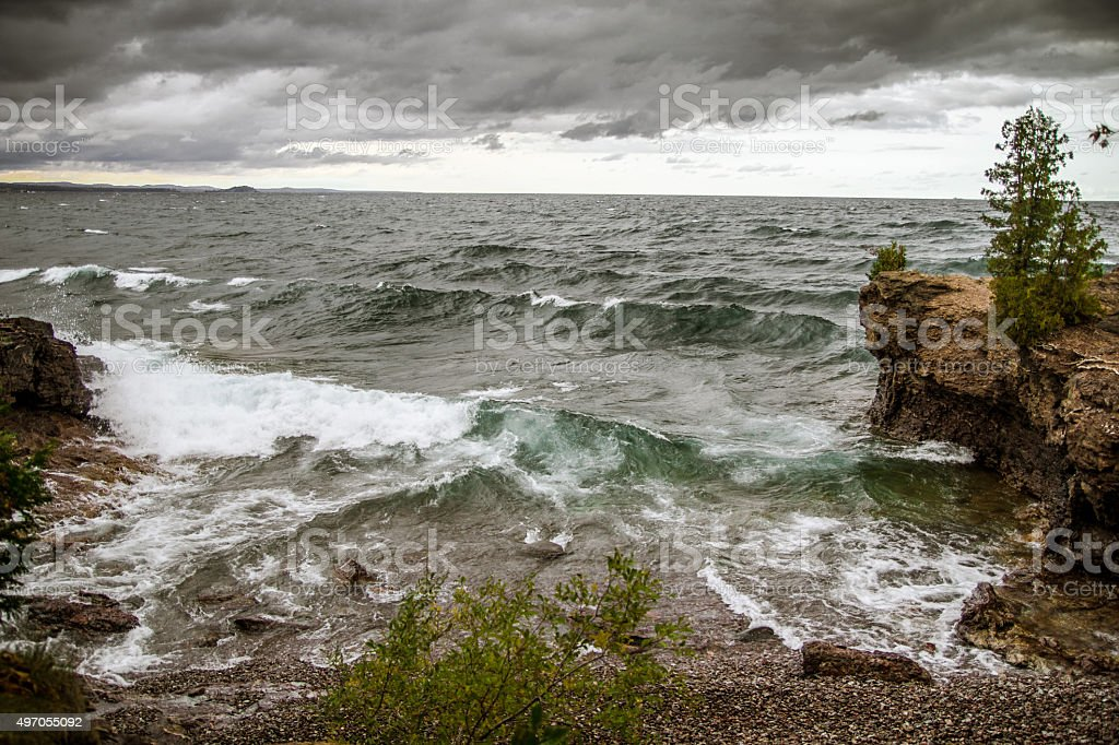 Storm On The Lake Superior Horizon stock photo