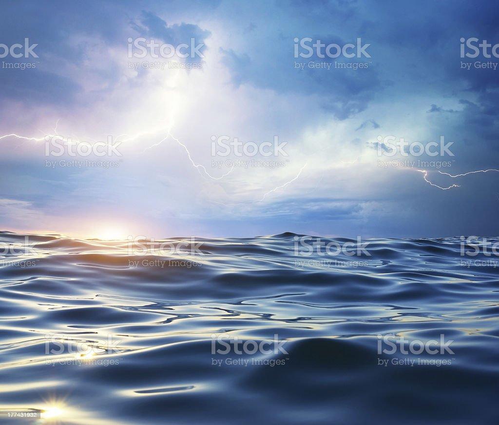 Storm on the sea. stock photo