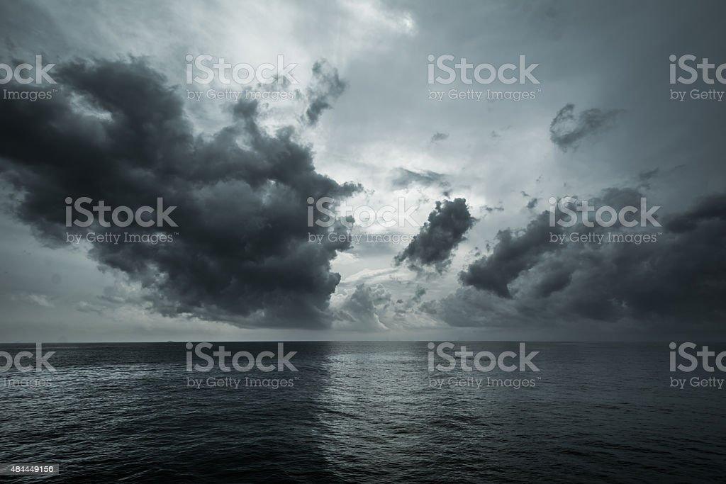 storm on the sea stock photo