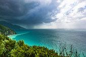 huge thunder storm across the amalfi coastline in italy.