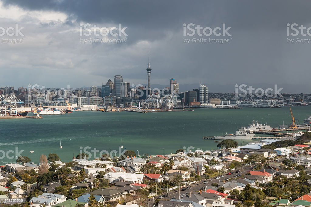 storm over Auckland CBD stock photo