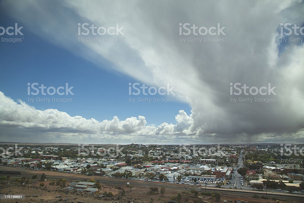 Storm over Broken Hill, Australia stock photo
