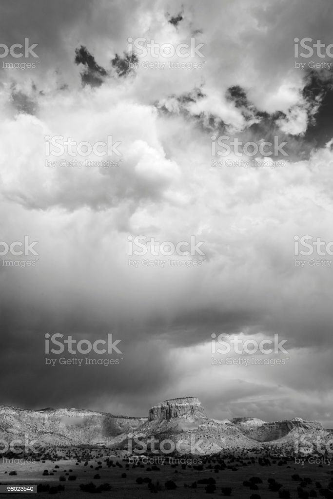 B&W Storm Over Ghost Ranch royalty-free stock photo