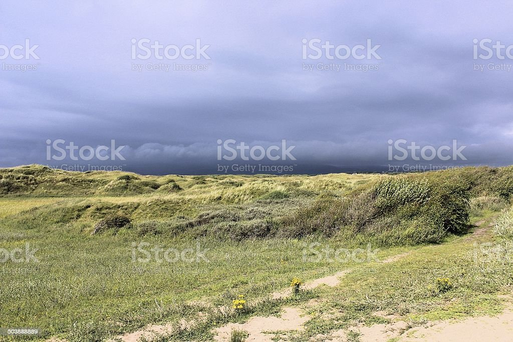 Storm over Kenfig Dunes stock photo