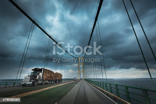 Subject: Shipping transportation trucking vehicle with lumber cargo traveling thought dangerous thunderstorm on the highway.