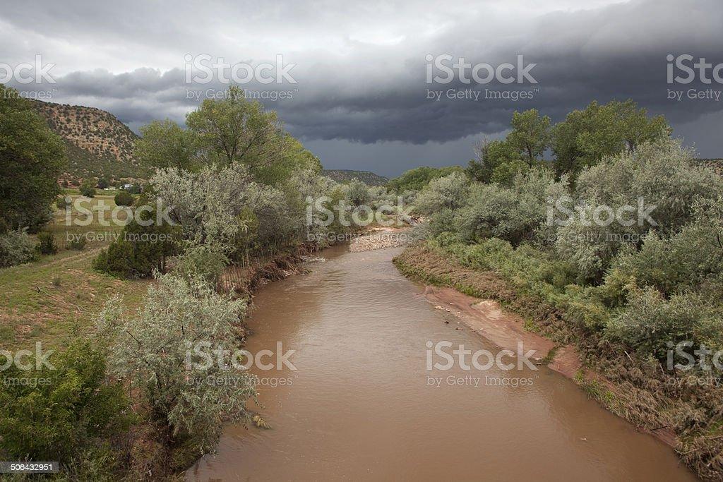 Storm over Pecos River New Mexico stock photo