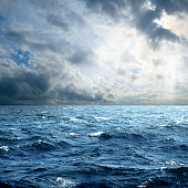 seascape from Mediterranean Sea in stormy morning.