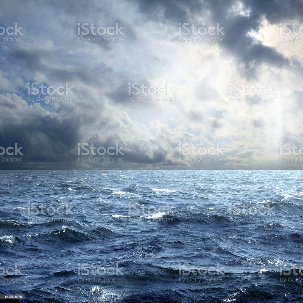 storm over sea stock photo