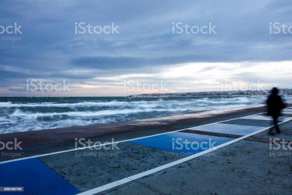 Storm over sea stock photo