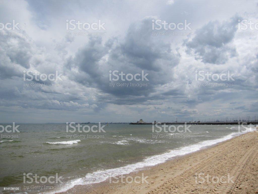 Storm over St. Kilda Pier stock photo