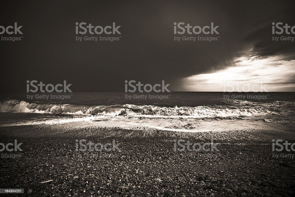 Storm over the English Channel, Black and White royalty-free stock photo
