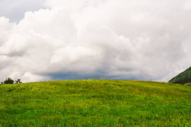 Storm Over the Fields Stormy clouds over the green hill hill stock pictures, royalty-free photos & images